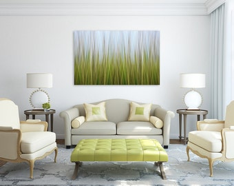 Large Abstract Wall Art Marsh Grass Photo Canvas Gallery Wrap Coastal Artwork Nautical Decor Lime Green Blue Yellow Living Room Bedroom