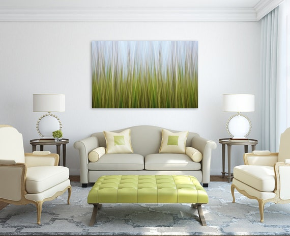 abstract wall art for living room. Large Abstract Wall Art  Coastal Marsh Grass Photo Canvas Gallery Wrap Nature Nautical Decor Lime Green Blue Yellow Beach Interior