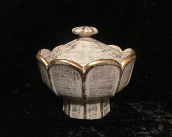 Royal Haeger Covered Pedestal Bowl Gold Tweed White Ceramic