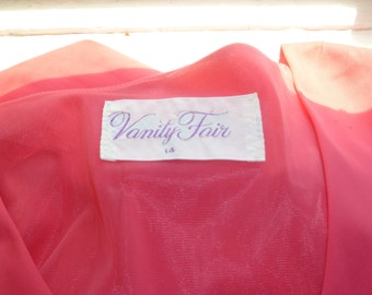 Pink Robe, Bright Pink House Coat, Vanity Fair, Long Pink Robe, Lounge Wear, Size 14, Hot Pink Robe with Sash