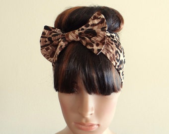 Leopard Headband. Bow Headwrap
