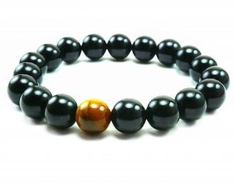 """Men's """"Huracan"""" Tiger Eye Onyx Beaded Bracelet"""