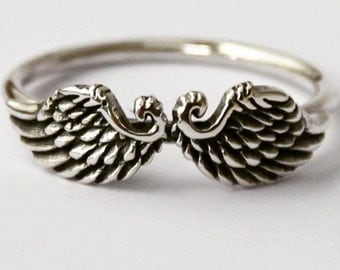 Sterling Silver Wings Intention ring, Beautiful Petit Angel/Bird wings ring, Novelty ring,  Symbol ring,Mothers day gift, Christmas stocking