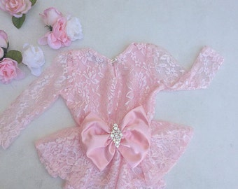 Pink Girls Lace Peplum Top with Bow - Children - Peplum Top with Long Sleeves by Isabella Couture