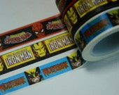 1 Roll Marvel Comics Washi Masking Paper Tape (Choose 1): Spiderman, Iron Man, Or Wolverine