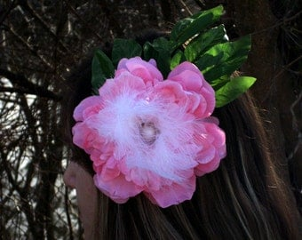 pink feather fascinator ready to ship bridal fascinator hair accessories ladies accessories bridal accessories wedding accessories