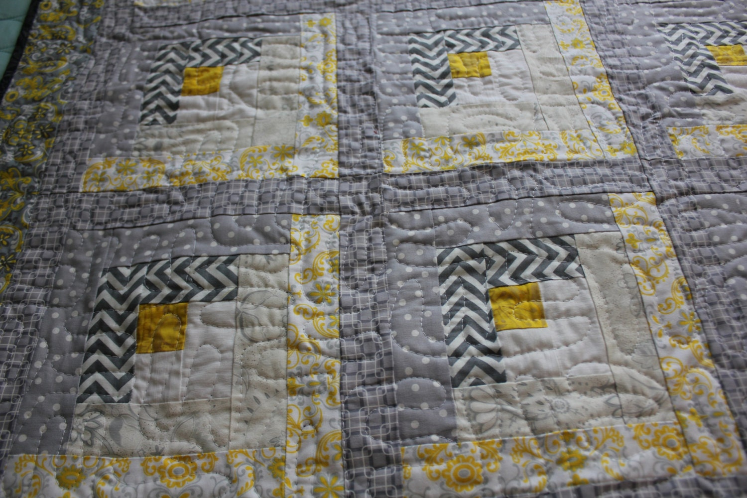 Modern Log Cabin Quilt Gray Yellow And White Baby By