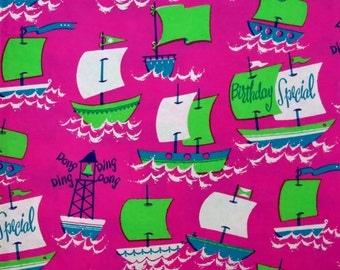 Vintage Dennison Mid-Century Gift Wrap - Wrapping Paper - BIRTHDAY BOATS - 1950s