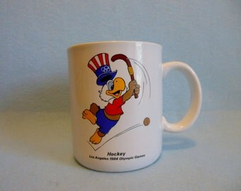 Mint Condition 1984 Summer OLYMPICS ~ HOCKEY ~ Olympic Cup/ Mug ~ USA Olympic Games Los Angeles, California ~ Sam the Olympic Eagle