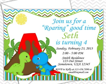 Dinosaur Invitations PRINTABLE - Birthday Party - Baby Shower
