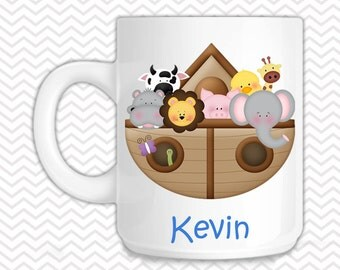 Noahs Ark Blue Kids Mug - Personalized Noahs Ark Mug - Customized Mug - Melamine Cup - Personalized Kids cup