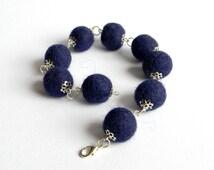 Felted balls bangles/Elegant felted wool bangles/Night blue