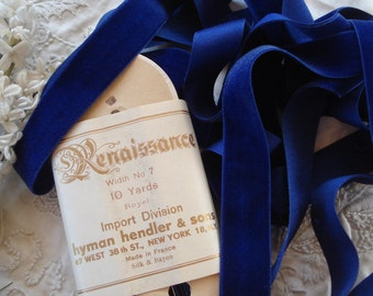 "1y Antque French 1"" Silk Lush Royal Blue Velvet Millinery Ribbon Work Trim Doll Edwardian Hat Making Dress Flapper Downton Abbey Mens Hat"