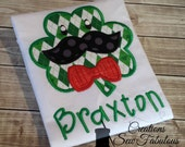 St Patrick's Day Shirt - Boys St Patty's Day Shirt or Bodysuit - Shamrock, Clover with Bowtie and Mustache - Personalized St Patricks Day