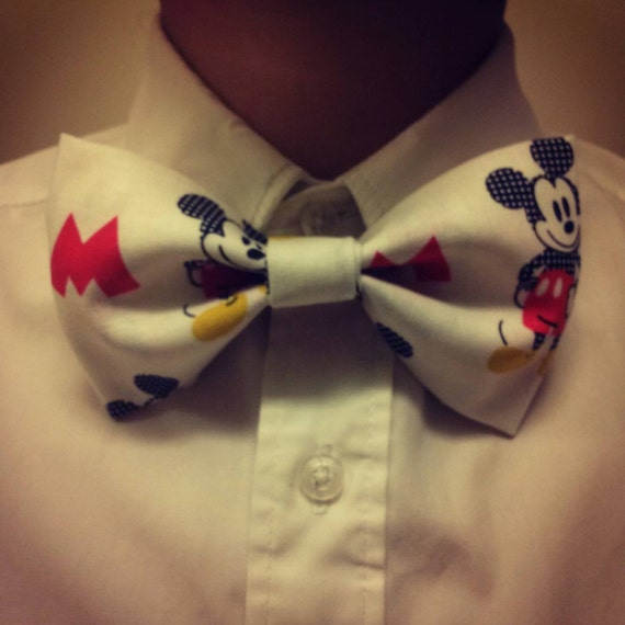 White Mickey Mouse Bow Tie