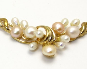 Vintage Necklace - 14k Yellow Gold Ovals and Round Pearls Necklace - Weight 8.1 Grams - June Birthstone # 1332