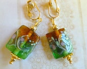 SALE Clip LampWork Earring in Amber & Green with Floral Design