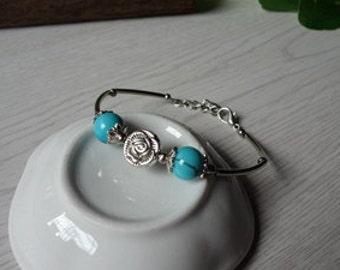 Handmade jewelry flower Tibet Tibet silver turquoise bracelets