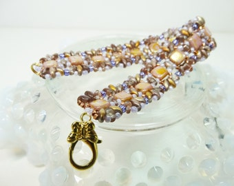 Bead Woven Bracelet, Pink and Lavender Woven Bracelet,  Two Hole Beaded Bracelet