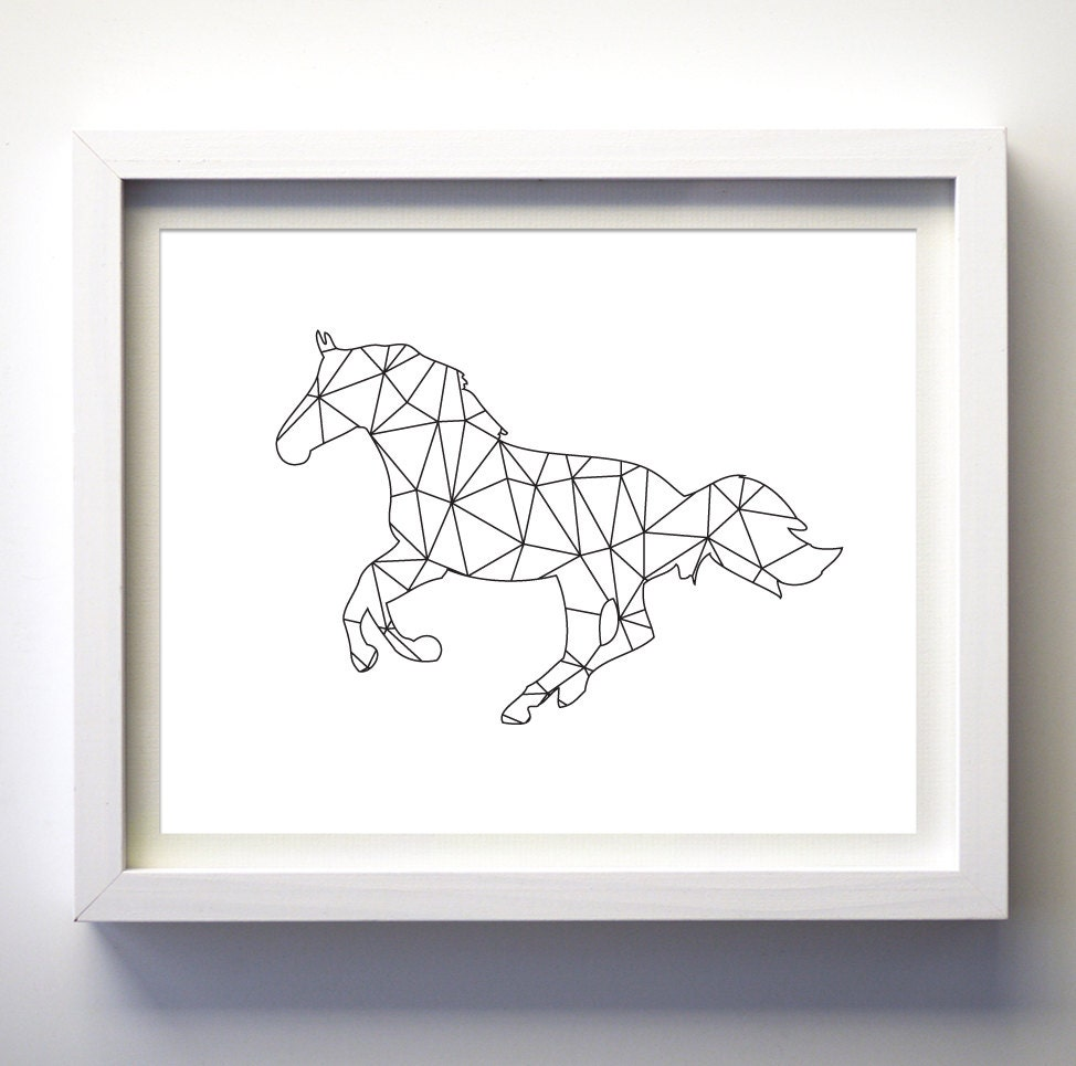 Wall Art Black Horse : Horse print wall art black and white geometric animal