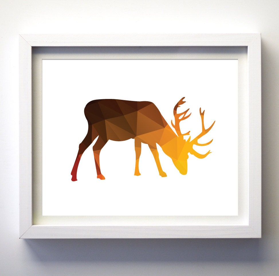 Geometric Purple Deer Wall Art Print Modern Poster Buck: Geometric Moose Deer Art Print Moose Art Print Woodland Art