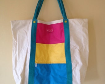 Giant vintage beach bag - awesome 1980s large tote