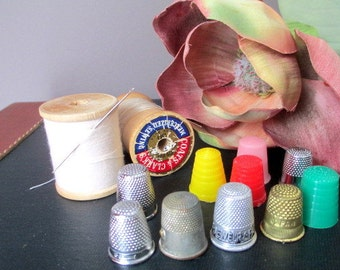 Vintage Thimbles Metal and Plastic Set of 10.  Germany , Japan , Brazil , Austria , Advertising  Lot of Ten Vintage Thimbles