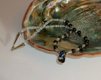 Boulder Opal Moonstone and Sterling Silver Necklace
