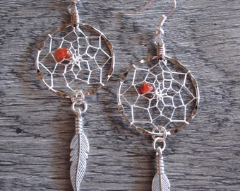 Dream Catcher Earrings ~ Silver with Carnelian Gemstones