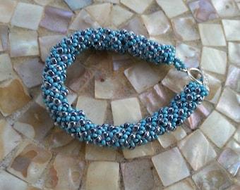 Blue Sky/Gray Sky Russian Spiral Bracelet