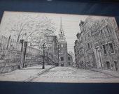 Beautiful  Boston scene print by Illustrator Clark M. Goff