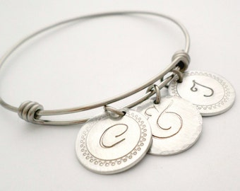Personalized Bracelet Adjustable Bangle Bridal Shower Gift for Bride Initial Jewelry Anniversary Gift Hand Stamped Jewelry