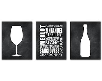 Wine Typography Art Trio - Wine Names - Kitchen Wall Art - Wine Art - Word Art Print - Chardonnay - Merlot - chalkboard print - wall decor