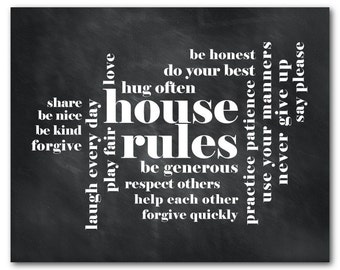 Family Wall Art - House Rules - Typography Art Print - Family Rules Print - housewarming gift - Wall Decor - Family Room - Kitchen Decor