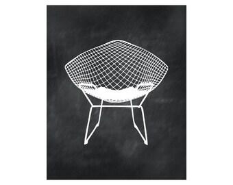Midcentury chair print - MidCentury modern art - Diamond Chair - Harry Bertoia chair silhouette - Retro chair wall art, wall decor