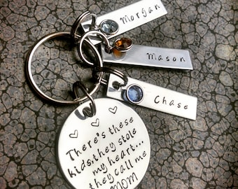 Mother's Keychain Personalized Keychain Hand Stamped Keychain There's These Kids They Call Me Mom Mothers Day Gift