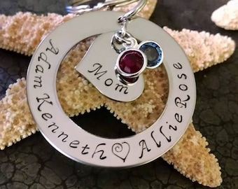 Mother's Day Gift Personalized Keychain for Mom Mothers Day Gift for Mom Hand Stamped Keychain Christmas Gift Birthday Gift