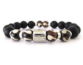 Onyx and Bone Unisex Bracelet - Black Bracelet - Stretch Bracelet - Unisex Jewelry - Gemstone Bracelet - Tribal Bracelet - Handmade - U9107