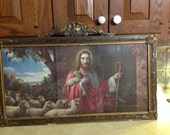 Reserved Lithography Of Jesus Holding His Staff And Lamb, 1930s Gesso & Gold Leaf Frame
