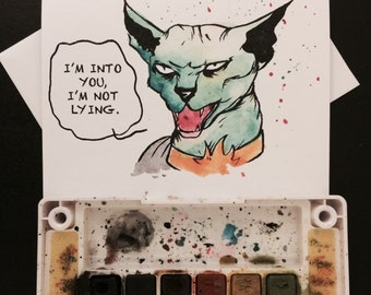 Lying Cat inspired Valentine's Day Card Blank Card / 5x7 inch watercolor print nerd geek girl guy dork saga