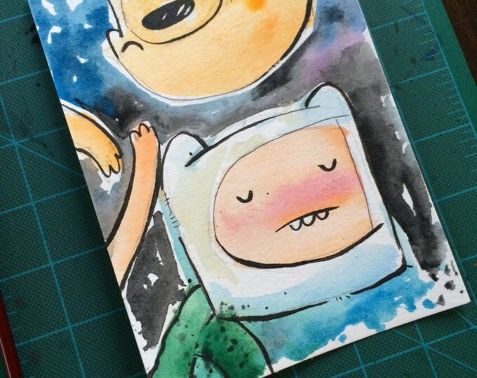 """Original Watercolor Painting """"Finn and Jake Float"""", 5x7 inch original drawing/painting. Adventure Time inspired. 1/1 available!"""