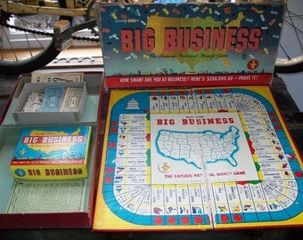 Big Business - 1954 Vintage Game Pieces - 1950's Collectible Game - Retro Game Room Decor