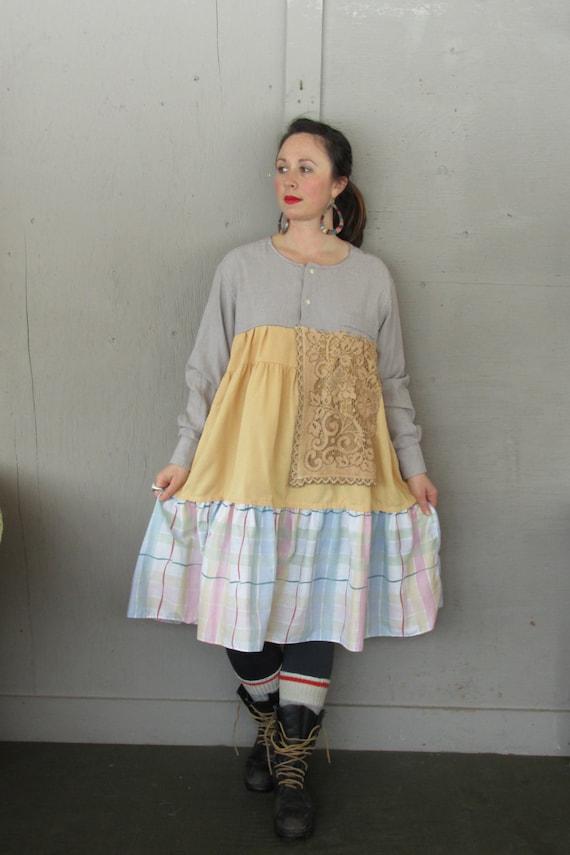 Sale X 1 X plus size upcycled dress Romantic Eco