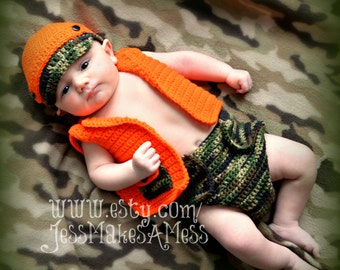 PATTERN Hunter hat vest and diaper cover crochet pattern photo prop 0-3 months