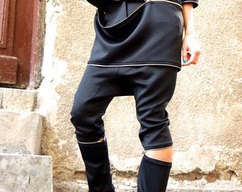 New  NEOPRENE  Black Drop Crotch Harem Zipper Pants / Extravagant Black Pants / Detachable Pants by AAKASHA A05175