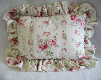 Adorable Vintage Style Floral Print Throw Pillow with Ruffle 11 x 8 NEW!