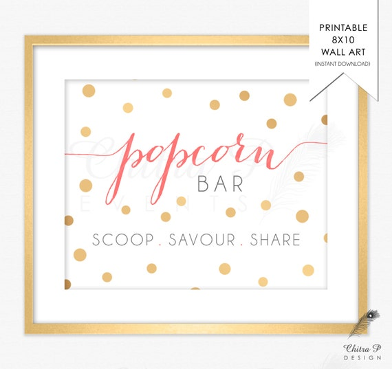 Gold Popcorn Bar Sign Printed Or Printable Coral Pink Baby Shower