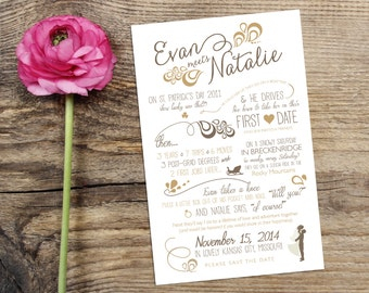 Wedding Love Story Timeline Save the Date Design with Custom Icons - Personalized Vintage Modern Infographic Wedding Announcement Card