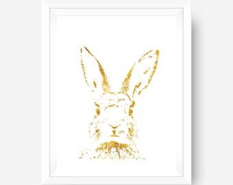 SUMMER SALE gold foil print inspirational print wall art print - gold hare - authentic foil