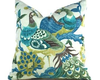 Pillow Covers ANY SIZE Decorative Pillow Cover Peacock Pillow Green Pillow Blue Pillow Aqua Pillow Richloom Preen Aqua Mist